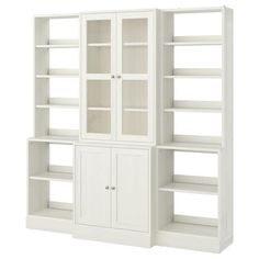 LIATORP Storage combination with doors, white, 108 Are you a romantic at heart? Combine with other furniture in the LIATORP series for a complete, beautiful look. Liatorp, Glass Cabinet Doors, Sliding Glass Door, Glass Doors, Form Design, Billy Ikea, Ikea Family, Tempered Glass Shelves, White Stain