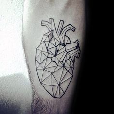 Unique Geometric Heart Mens Inner Forearm Tattoo Design Ideas