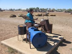 How cool is this?  Complete drum kit made from recycled junk.  In a playground in Winton, QLD Australia  Originally Pinned by Alec Duncan of http://childsplaymusic.com.au/