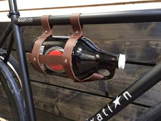 Leather Bicycle Growler Carrier With Glass 64OZ Amber Growler