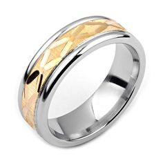 Men's Cobalt Ring Wide Two-Tone Cobalt & Yellow Gold (Solid, not Plated) Wedding Band Fashion Ring Cobalt, Mens Ring Designs, Platinum Ring, Wedding Bands, Gold Wedding, Plaque, Fashion Rings, Diamond Jewelry, Gold Rings