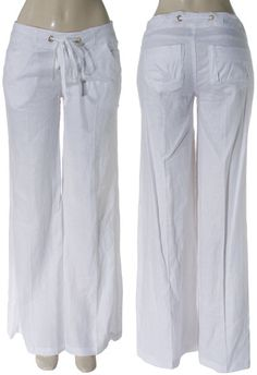 Linen Palazzo Pants - but not in white...maybe oatmeal, black, or charcoal