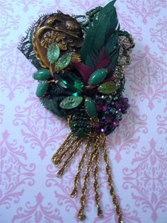 Altered Art Mixed Media Brooch Phoenix Originals Lava Rock Stones Feather Tassel #PhoenixOriginalsBeverlyBeavers