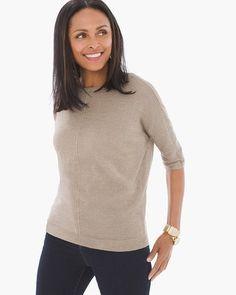 76da9315e6feaf Chico's Jeanette Shine Pullover Back Strap, Size 00, Taupe, Sheds, Turtle  Neck