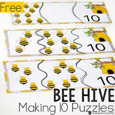 Introduce addition to your kindergarteners with these fun bee hive puzzles for making 10.