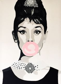 Audrey Hepburn painting acryl on canvas popart made by Anne van Iersel AVI