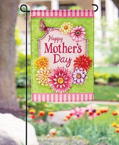 """This Mother's Day or Father's Day Flag Set is a great way to put your appreciation for Mom or Dad on display. Fun colors and detailed images surround the friendly sentiment. Easily hang from the included stand in your yard. Flag, 12-5/8""""W x 18""""L. Polyest"""