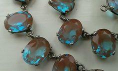 VINTAGE-CZECH-SAPHIRET-GLASS-NECKLACE-c-1930-ART-DECO-24-large-STONES