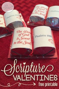 Looking for a simply crafty way to share God's love this Valentine's day? You'll love these FREE scripture valentine's printables! You can make enough for the whole class in under an hour! Saint Valentine, My Funny Valentine, Valentine Treats, Valentines Day Party, Valentine Day Crafts, Love Valentines, Valentine Decorations, Valentines Games, Banquet Decorations