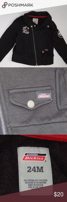 Dickies Toddler Boy Motorcycle Skull Black Jacket This jacket is in good condition. There are no stains, snags or rips. Please view pictures to see the jacket details. Dickies Jackets & Coats