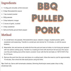 Slimming world pulled pork recipe - Food: Veggie tables Baker Recipes, Cooking Recipes, Slow Cooking, Low Carb Recipes, Vegan Recipes, Drink Recipes, Bbq Pulled Pork Recipe, Sliming World, Slimming World Diet