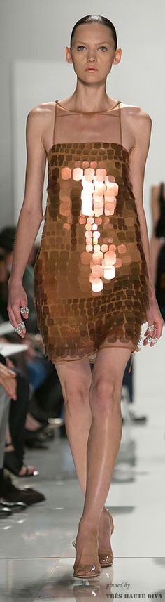 Ralph Rucci Spring 2014 RTW  sequin dress gold dress gold mini