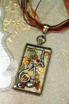 The Notes of Paris Collage Pendant Necklace Vintage Music OOAK   shadesongs - Jewelry on ArtFire