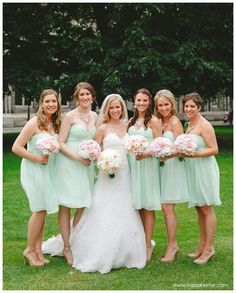 Allison & Matt celebrate their beautiful wedding with their bridesmaids dressed in Candy Apple.