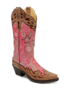 Corral Women's Fluorescent Pink/Cognac Collar and Wing Tip Boot - Cowgirl Chic, Cowgirl Style, Cowgirl Boots, Western Boots, Country Boots, Boot Scootin Boogie, Wedding Boots, Corral Boots, Western Wear For Women
