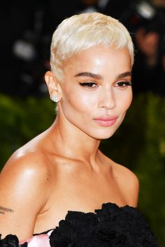 Zoe Kravitz adds some extra edge to her cropped cut with platinum blonde hair.