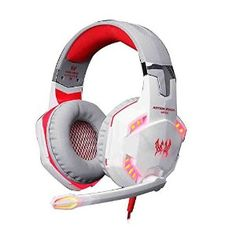 GuDenns Over Ear Stereo Gaming Headset Wired Headphone with Adjustable Headband and Microphone Mic USB and Audio Connector LED Indicator Noise Isolation/In-line Volume Control for PC Gamers White and Red Gaming Headphones, Noise Cancelling Headphones, Gaming Headset, Sports Headphones, Beats Headphones, Hifi Stereo, Gaming Accessories, Headphone With Mic, Gaming Computer