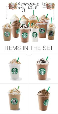 """I can't go on without Starbucks"" by hamsterlover447 ❤ liked on Polyvore featuring art"
