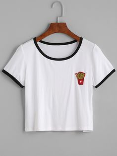 9$  Buy here - http://di5y8.justgood.pw/go.php?t=12930 - White Contrast Trim French Fries Patch Crop T-shirt 9$