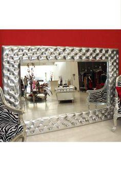 Specchio grande cornice imbottita lavorato CHESTER