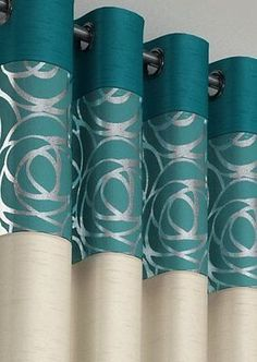 Design Skye Fully Lined Eyelet Ready Made Curtains Teal & Cushion Covers Living Room Drapes, Home Curtains, Dining Room Walls, Bathroom Curtains, Teal Cushion Covers, Teal Cushions, Rideaux Design, Home Entrance Decor, Bedroom Cupboard Designs