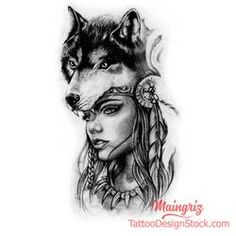 Wolf and woman face custom tattoo design Wolf Girl Tattoos, Tattoo Girls, Wolf Tattoos For Women, Tattoo Designs For Girls, Tattoos For Guys, Indian Women Tattoo, Native Indian Tattoos, Native American Tattoos, Wolf Tattoo Design