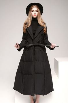 Women-s-Long-Down-Coat-Fit-and-Flare-                                                                                                                                                                                 More