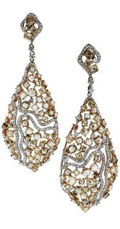 L' Dezen Jewellery 18K Gold Rose Cut Diamond and White Diamond  'Giselle' Chandeliers Earrings
