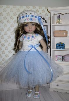 Set for Dianna Effner Little Darling 13 inches doll - blouse, skirt, hat, shoes. #Unbranded
