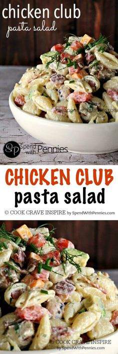 Chicken Club Ranch Pasta Salad! Chicken, bacon, avocado, cheddar... this pasta salad is loaded with the yummiest club toppings!