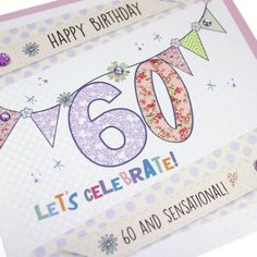 Handmade 60th Birthday Card Polka Dot Bunting Gold Shimmer Dotty Embossed - '60 and Sensational!'