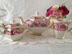 Vintage Sadler Tea Set Teapot Creamer & Sugar by TheEclecticAvenue,:):)