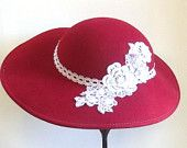 Red Vintage Hat, Refurbished, Lace Appliqué, Easter, Tea Party, Mothers Day, Kentucky Derby. Use FSL from my embroidery machine to decorate hats!!