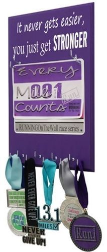 Create your own race bib and medal holder. Select your desire quote from more than 400 designs, 20 colors choice and 15 different size. Ready to display your medal in style...Get started now!