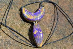 Polymer clay dangle necklace abastract by AbandonedAtticCrafts, $18.50