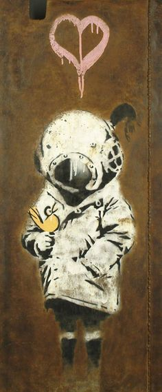 Space Girl with Bird by Banksy (Chicago, 2000)