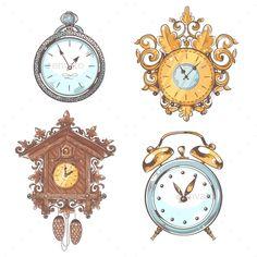Old Vintage Clock Set