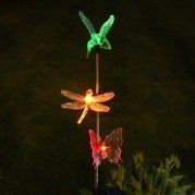 2 Piece Colour Changing Solar Garden Stakes (3 in 1 Design)