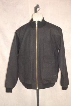 CC Filson Duwamish Bomber Jacket L 100% Wool Style 10068 Dark Gray #Filson #FlightBomber