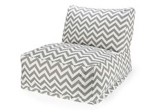 Zigzag Outdoor Beanbag  love these bean bags chairs period but especially loving the grey chevron print on these.