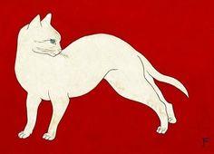 "Tsuguharu Foujita - ""Chat Blanc, Fond Rouge"" (White cat, Red background), c. Asian Cat, Creation Art, Japanese Cat, White Cats, Japan Art, Japanese Artists, Cat Drawing, Animal Paintings, Art And Architecture"