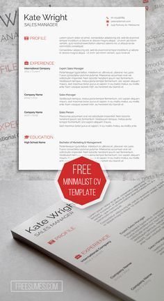 Free Clean Minimalist CV Template For Microsoft Word Immediate Download Resume Freebie