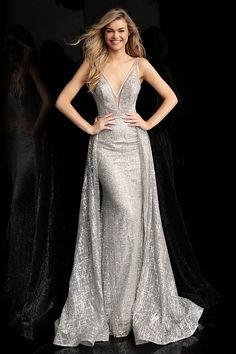 jovani Silver V Neck Glitter Embellished Prom Gown 62515 Prom Dresses Jovani, Unique Prom Dresses, Prom Dresses With Sleeves, Pageant Dresses, Evening Dresses, Formal Dresses, Party Dresses, Bridesmaid Dresses, Silver Gown