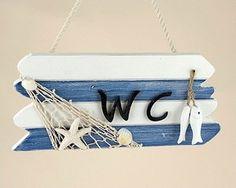diy beach decor for bathroom | ... CHIC WC SIGN BATHROOM FISH AND SHELLS NAUTICAL BEACH SEASIDE | eBay