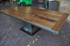 Walnut top Floyd dining table by Vintage Industrial...