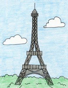 How to Draw the Eiffel Tower · Art Projects for Kids. I've found that most How to Draw the Eiffel Tower tutorials out there are either overly simple or overly complex. I made this one to find a happy medium. Eiffle Tower Drawing, Eiffel Tower Drawing Easy, Eiffel Tower Craft, Eiffel Tower Painting, Art Drawings For Kids, Drawing For Kids, Easy Drawings, Drawing Step, Drawing Sketches