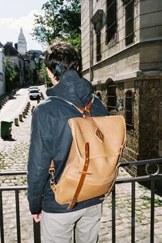 Backpack leather, Bleu de Chauffe. Made in France