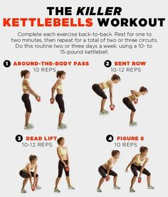 8 Killer Kettlebell workouts to tone muscles and burn fat. No other exercise routine out there can tone muscles or raise a heart rate quicker than a kettle be