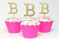 Ouro brilho carta de coco do Cupcake Topper inicial de festa de aniversário personalizado princesa. Casamento nupcial em Decoração de festa de Casa & jardim no AliExpress.com   Alibaba Group