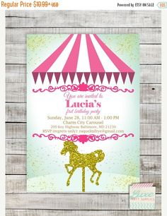 SALE Carousel Birthday Party Printable by LuxePartySupply on Etsy